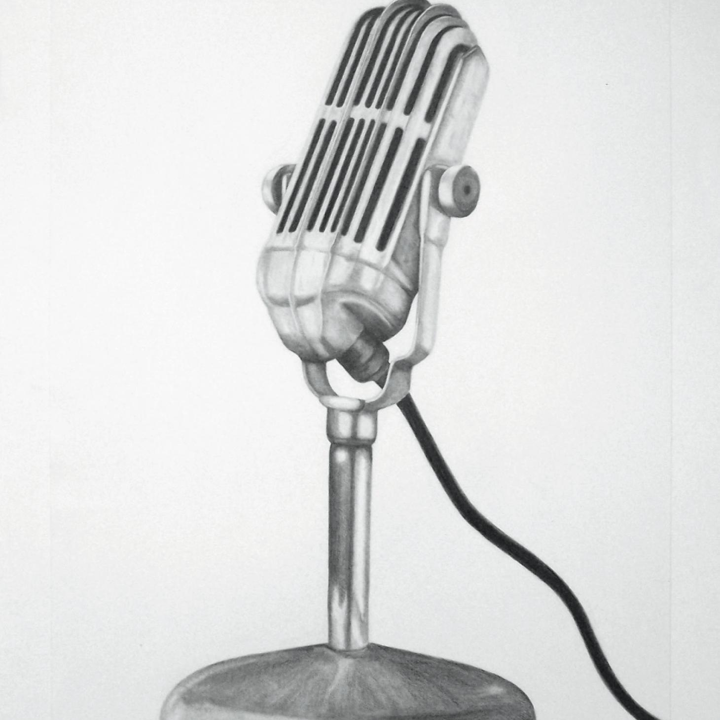 Zeichnung mit Bleistift: Mikrofon
