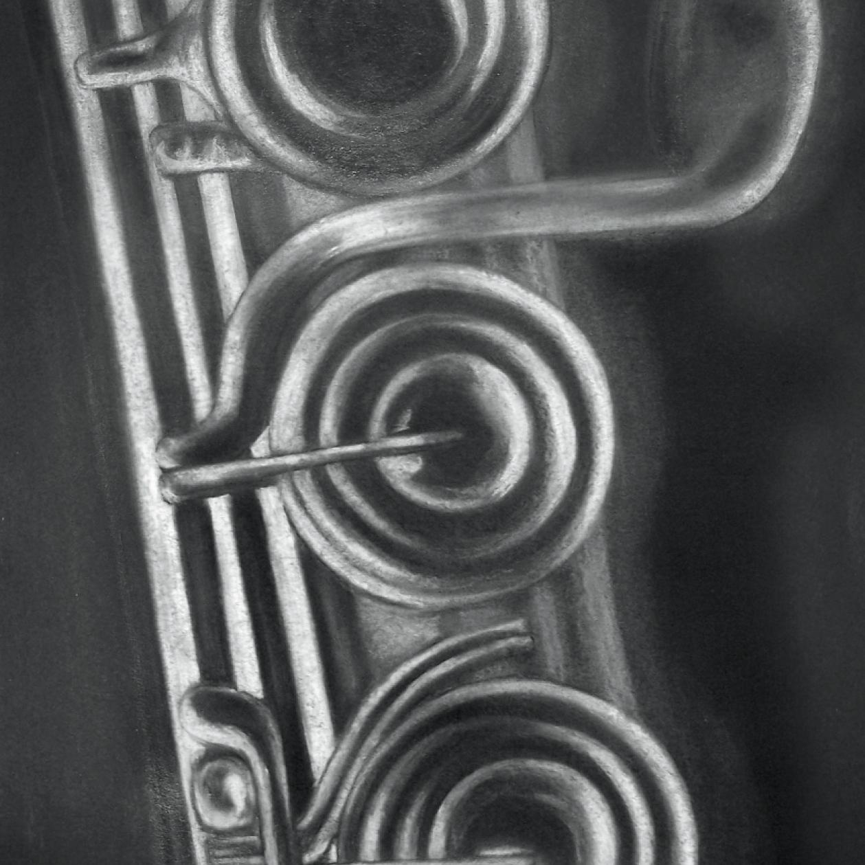 Zeichnung mit Kreide: Querflöte