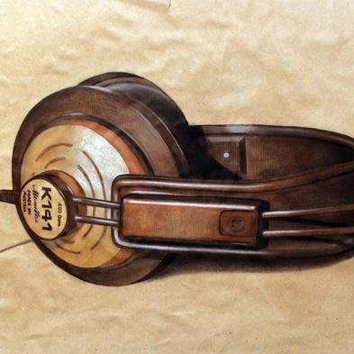 Zeichnung: Polychromos auf Papier, Kopfhörer