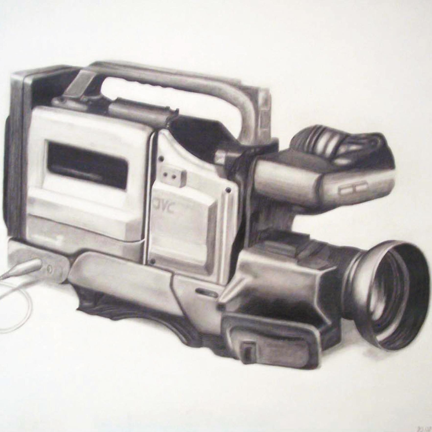 Zeichnung mit Bleistift: Filmkamera