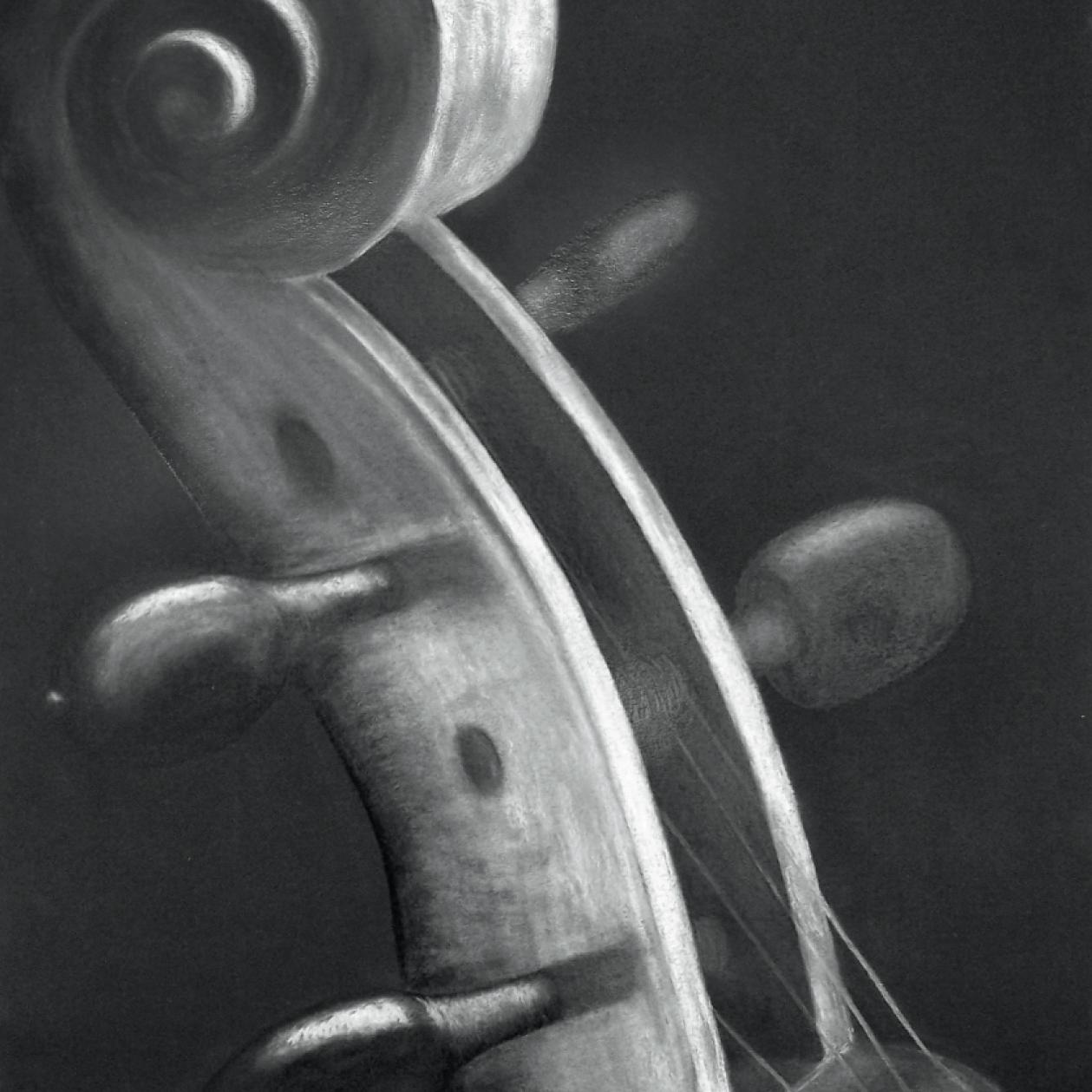 Zeichnung mit Kreide: Geige