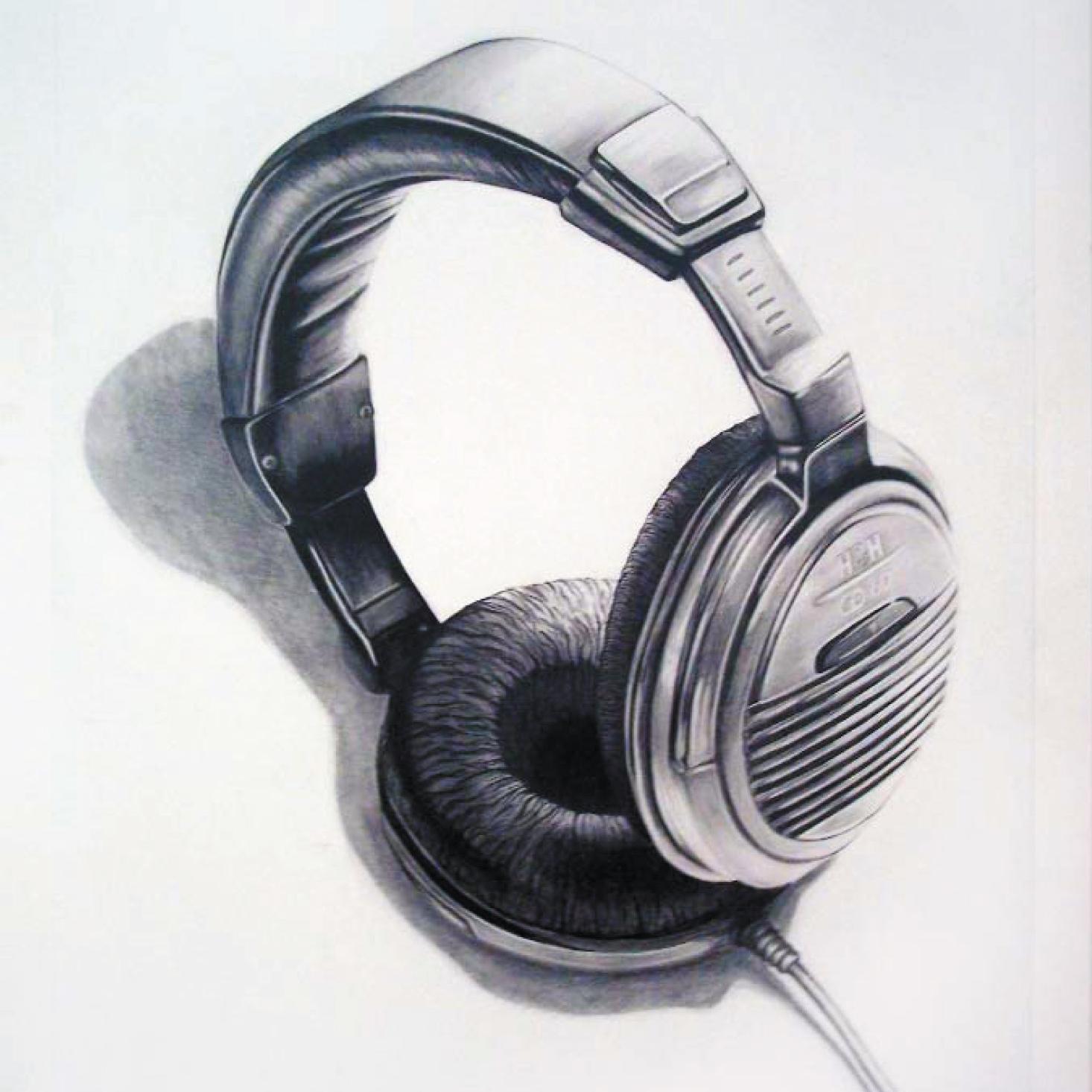 Zeichnung mit Bleistift: Kopfhörer