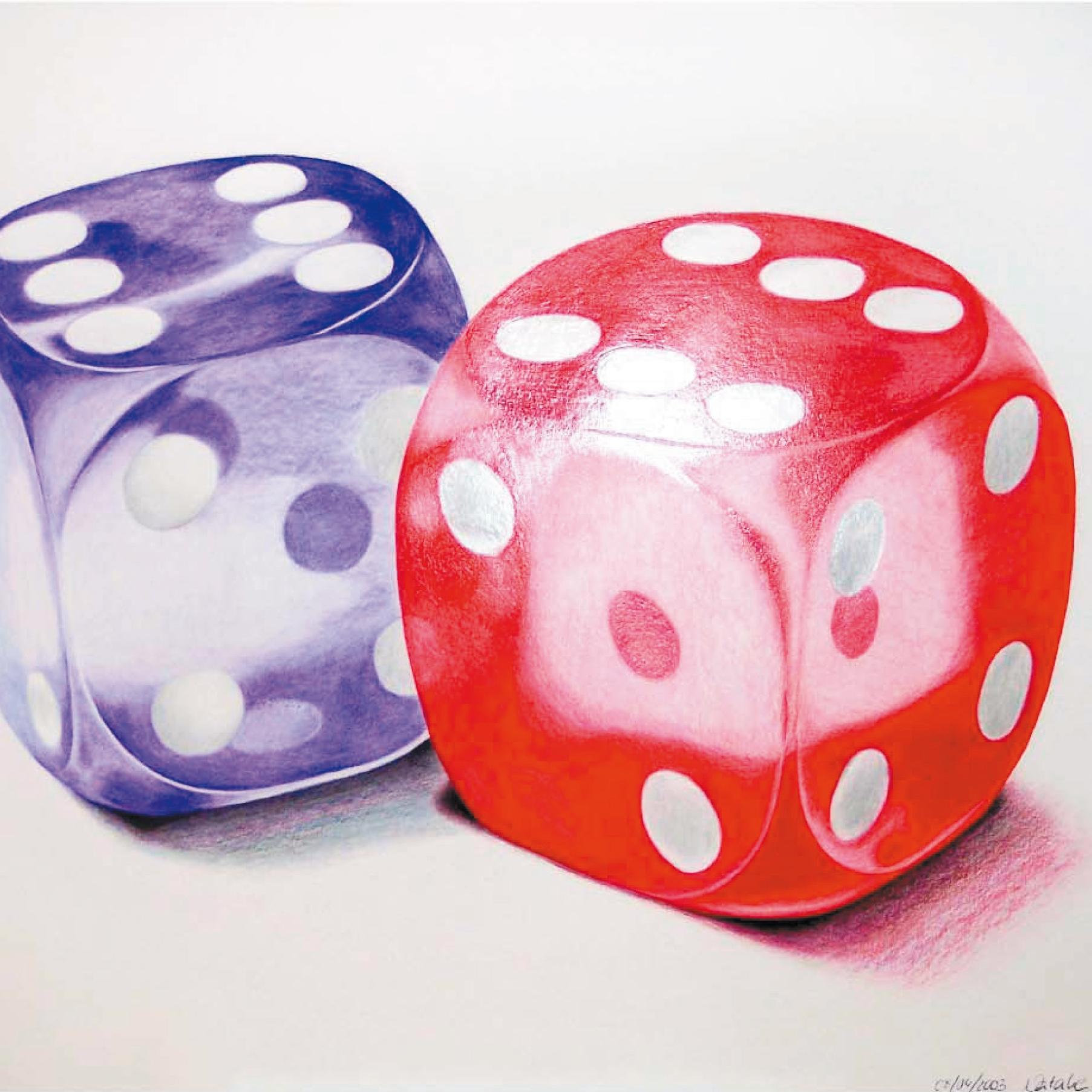 Zeichnung mit Polychromos: Zwei Glaswürfel