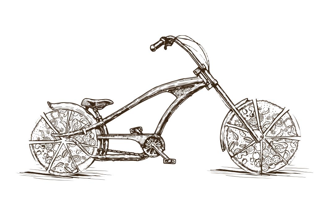 Illustration - Fahrrad mit Pizza als Reifen